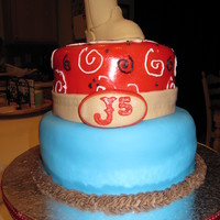 Cowboy Baby Shower Cake Baby Shower cake for Joe the 5th (J5). The top layer is classic white cake with dark chocolate buttercream. The bottom layer was swiss...