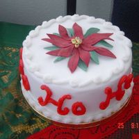 Christmas Cake With Poinsettia On Top Fondant covered fruit cake with poinsettia on top