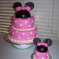 Minnie Mouse Birthday For a little girls first birthday. White cake, strawberry filling, butter cream, and fondant accents.