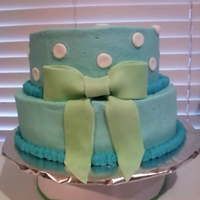 Boy Baby Shower Yellow cake with BC and MMF accents. 10'' and 8''. For a double baby shower. This was very last minute and I wasn'...