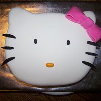 Hello Kitty Vanilla cake with BC covered in MMF