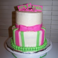 It's A Girl Very last minute cake. White cake, butter cream, & MMF accents
