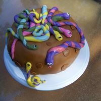"Snake Pit Cake Got the idea from ""50 Easy Party Cakes"". First attempt at fondant."