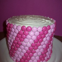 "Menage A Trois Of Pink   Three layered 6"" Pink cake covered in Cream Cheese Frosting and Pink M&Ms"