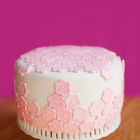 White And Pink Cake Marble cake with white fondant - decorated with pink flowers with a pearl center.