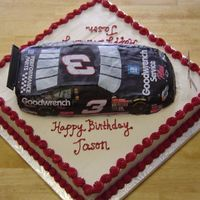 "Nascar RaceCake kit (#3) (now SportsCakes) atop a 16"" square. Car decorated with kit contents; rest is buttercream."