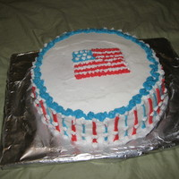 "Flag & Stars Cake This is my 8 year old sister's first ""official"" cake! It was her first time ever baking a cake from scratch (yellow cake),..."