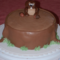 Steve The Squirrel Squirrel and nuts are handmade with chocolate fondant & gumpaste. Tree stump cake is butterpecan with chocolate buttercream covered in...
