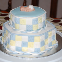 Boy's Baby Shower Or Baptism 2-tier cake with patchwork.