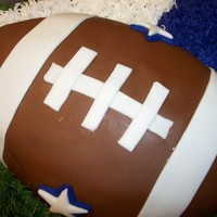 Football Cake Dallas Cowboys football cake. Football is covered in fondant. Turf and football team colors are made with buttercream.