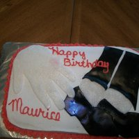 Michael Jackson Birthday Cake. Michael Jackson theme birthday cake covered in buttercream with fondant accents.