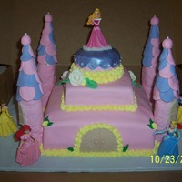 Birthday Princess Castle A triple chocolate fudge cake covered in fondant, the towers i made w/ rice krispies, shaped and covered in fontant and glue to the bottom...