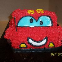 Lightning Mcqueen Carrot cake w/ cream cheese filling, all buttercream icing, & used small chocolate donuts for the wheels. He's on the chubby side...