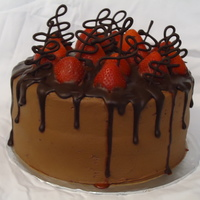 Chocolate Strawberry Cake With Chocolate Ganache