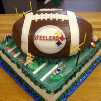Steelers Birthday Cake All fondant cake. Football was carved from cake.