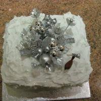 Simple Sparkly Silver Christmas Cake Xmas cake, marzipan, royal icng peaked, glitter, show bought centre piece.