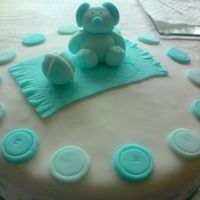 Baby Blue Buttons Bear Cake Jam sponge all fondant decorations with ribbon.