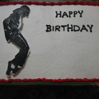 Michael Jackson Birthday This cake was for a friend of the family. Chocolate cake with almond icing. Michael Jackson is FBCT.