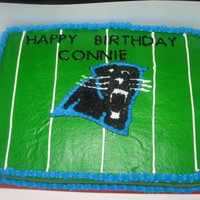 Panthers Birthday Cake All Buttercream, cake is vanilla and icing is vanilla.