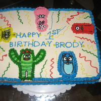 Yo Gabba Gabba All Buttercream vanilla cake with vanilla icing. Characters done as FBCT.