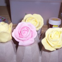 "Gumpaste Flowers I made over 150 gumpaste flowers for a 100 cupcake and 6"" round cake order for a lady's 90th. My first try at gumpaste roses..."