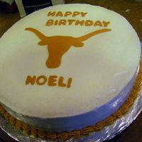 Longhorn Birthday Cake For a University of Texas fan. Simple and yummy coconut/mango. I learned that it's really hard to smooth coconut frosting.