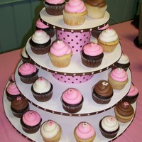 Pink And Brown Cupcake Tower