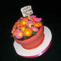 Spring Flowerpot Chocolate cake with chocolate buttercream. MMF accents