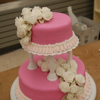 Course 3, Tiered Cake fondand with fondant roses- bc border I also included a closes up of my roses