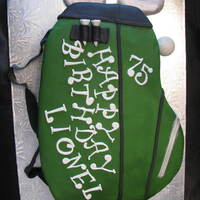 75Th Birthday/golf Bag Cake Almond Pound cake, carved to be a golf bag, my 13yr old did the carving. She and I both covered and decorated in fondant.