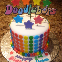 Doodlebops! A very colourful and fun cake for a little girl's birthday with matching cuppies!