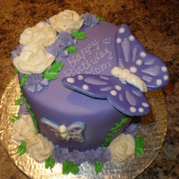 Garden Of Purple! I had done this cake for a friend a few months ago (only sans butterflies and larger) when I had an order for it only with butterflies...