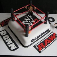 Wrestling Cake  for a friends son. Only request was a wrestling theme. Everything is edible except the red ropes. What are they ? Coffee straws from wawa...