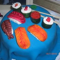 Sushi Cake! Many thanks to CorinasConfections for her inspiration - I can only dream that mine would be as good as hers! Everything (apart from the...