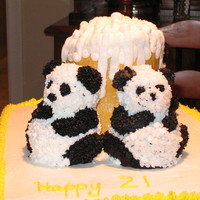 "21St Birthday Cake My first ""non class"" cake. My son wanted Panda Bears after seeing a particular South Park show, I added the beer mug in honor of..."