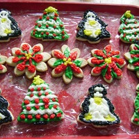 Christmas Sugar Cookies Cream Cheese Icing on top of sugar cookies, for my husband.. !!!