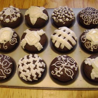 Chocolate Cup Cakes   Whole Wheat Flour Chocolate Cup Cakes, with Butter, Milk and Sugar Icing- Icing on top.