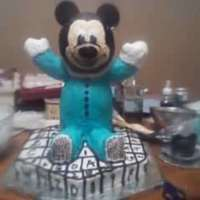 3D Baby Mickey Mouse This baby mickey cake was done for my nephews first birthday. They wanted baby mickey, so i used 2 wilton ball pans to make the head and...