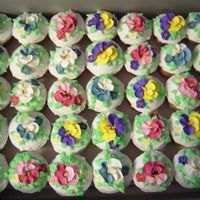 "Bridal Shower Cupcakes For a bridal shower with a ""garden"" theme; royal icing flowers with buttercream leaves"
