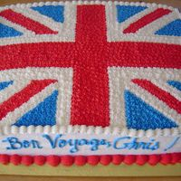 Bon Voyage Guess where Chris was going. :-) Free-hand British flag; all in buttercream.