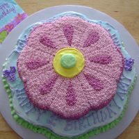 Flower Cake   Two layers; all buttercream frosting