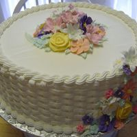 Baketweave & Royal Flowers All royal icing over cake dummy (form) for County Fair. (Won 1st Place and Best in Show.)