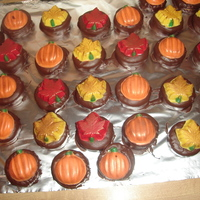 Dipped Fall Cookies I made a peanut butter cookie dipped in dark chocolate then molded fall chocolates brushed in a little bronze luster dust to bbring out the...