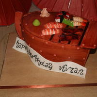 Sushi Boat Almond Joy cake with gumn paste sushi and soy sauce bowl
