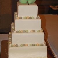 "Perfect ""pear"" Cake Display cake for a bridal show. Off-white fondant. Had plans to make the pears out of modeling chocolate, but found wooden ones for a..."