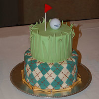 Golf Groom's Cake Display cake for a bridal show. Fondant with royal icing accents. Golf ball and tees are real.