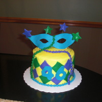 Mardi Gras The blue is molding chocolate. Fondant accents. Chocolate Chiffon cake w/chocolate cream filling.