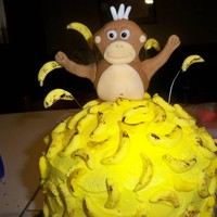 Monkey Cake this cake is stacked with 3 6' inch rounds and covered in bc and then handmade bananas theres about 150 of them and the monkey is also...
