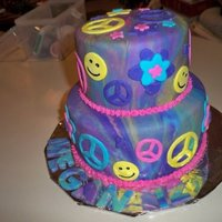 Peace Sign Cake covered in fondant