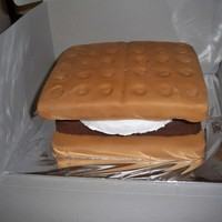 3-D Smores Cake this cake is a 3-d smore i used two larger squares and covered them in fondant and used a smaller chocolate cake for the hersey part and...